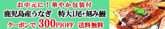 うなぎ1尾+刻み300円OFFクーポン