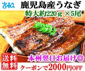 うなぎ5尾 クーポンで2000円off