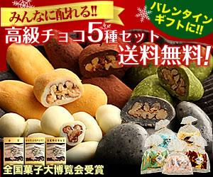 皆に配れる高級チョコ5種セットが送料無料!